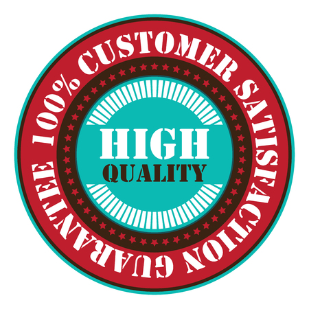 qc: Red High Quality 100 Customer satisfaction Guarantee Sticker Icon or Label Isolated on White Background