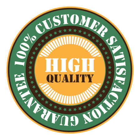 qc: Green High Quality 100 Customer satisfaction Guarantee Sticker Icon or Label Isolated on White Background