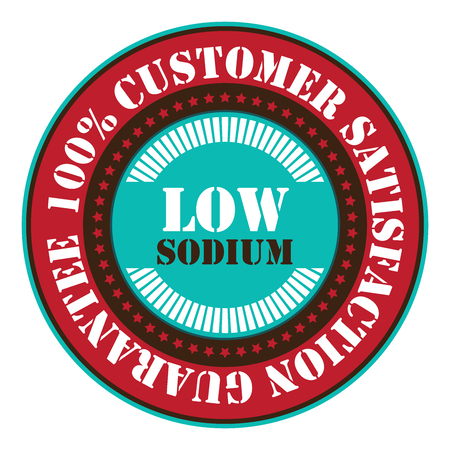 saline: Red Low Sodium 100 Customer Satisfaction Guarantee Sticker Icon or Label Isolated on White Background Stock Photo