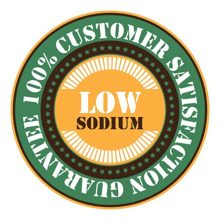 salt free: Green Low Sodium 100 Customer Satisfaction Guarantee Sticker Icon or Label Isolated on White Background