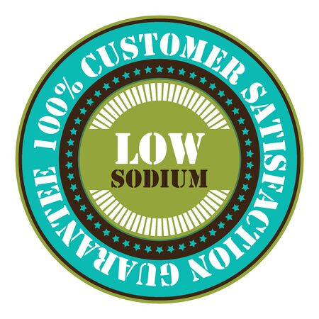 salt free: Blue Low Sodium 100 Customer Satisfaction Guarantee Sticker Icon or Label Isolated on White Background Stock Photo