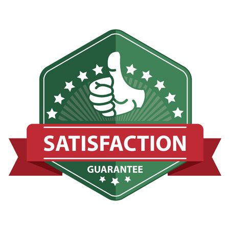 qc: Green Satisfaction Guarantee Ribbon Sticker Icon or Label Isolated on White Background