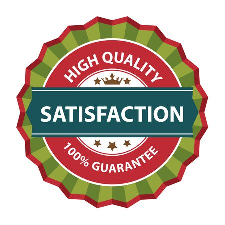 qc: Green Satisfaction High Quality 100 Guarantee Sticker Icon or Label Isolated on White Background