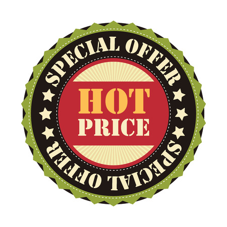 grand sale sticker: Black Hot Price Special Offer Sticker Icon or Label Isolated on White Background