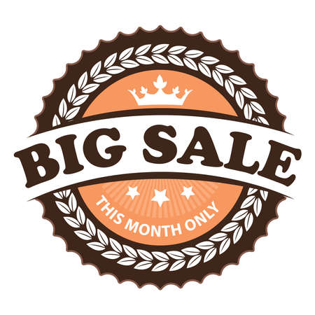 inexpensive: Brown Vintage Big Sale This Month Only Icon Badge Sticker or Label Isolated on White Background Stock Photo