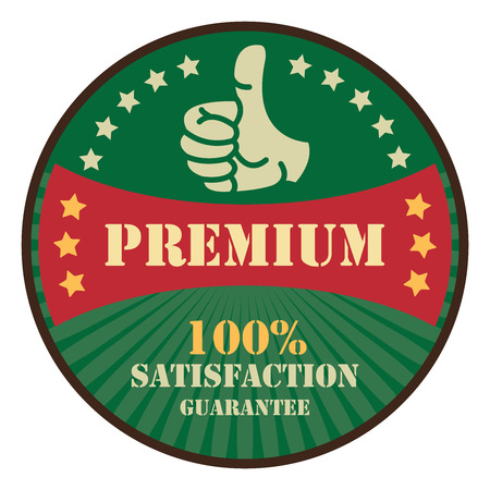 Green Premium 100 satisfaction Guarantee Icon Badge Sticker or Label Isolated on White Background