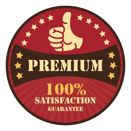 qc: Red Premium 100 satisfaction Guarantee Icon Badge Sticker or Label Isolated on White Background