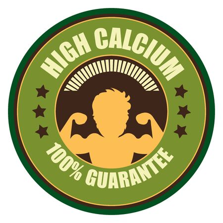 food absorption: Green Vintage High Calcium 100 Guarantee Icon Badge Sticker or Label Isolated on White Background