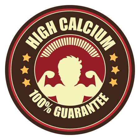potency: Brown Vintage High Calcium 100 Guarantee Icon Badge Sticker or Label Isolated on White Background
