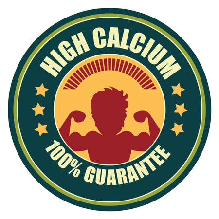 food absorption: Blue Vintage High Calcium 100 Guarantee Icon Badge Sticker or Label Isolated on White Background