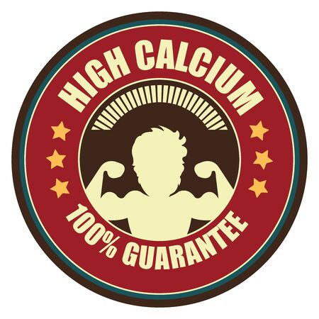 food absorption: Red Vintage High Calcium 100 Guarantee Icon Badge Sticker or Label Isolated on White Background