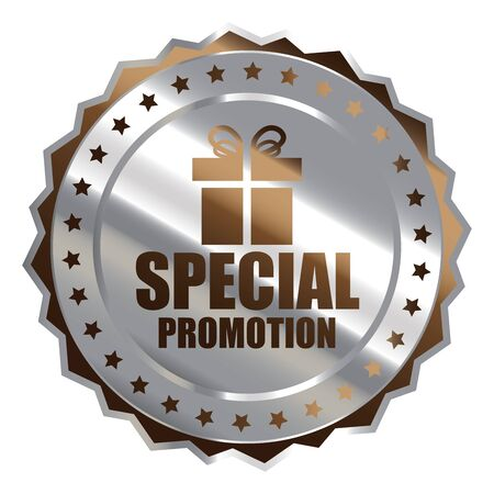 grand sale sticker: Brown Silver Metallic Special Promotion Icon Badge Sticker or Label Isolated on White Background Stock Photo