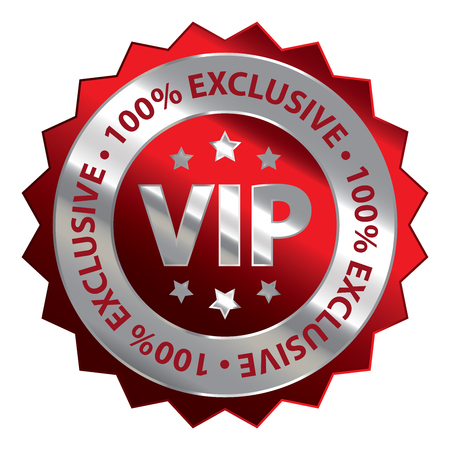 exclusive icon: Red Silver Metallic VIP 100 Exclusive Icon Badge Sticker or Label Isolated on White Background