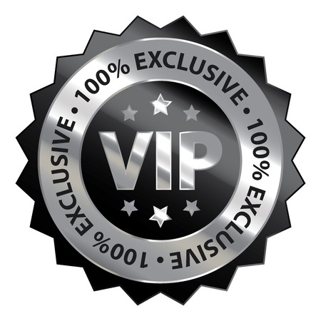 exclusive icon: Black Silver Metallic VIP 100 Exclusive Icon Badge Sticker or Label Isolated on White Background Stock Photo