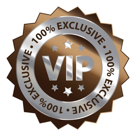 Brown Silver Metallic VIP 100 Exclusive Icon Badge Sticker or Label Isolated on White Background