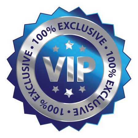 exclusive icon: Blue Silver Metallic VIP 100 Exclusive Icon Badge Sticker or Label Isolated on White Background