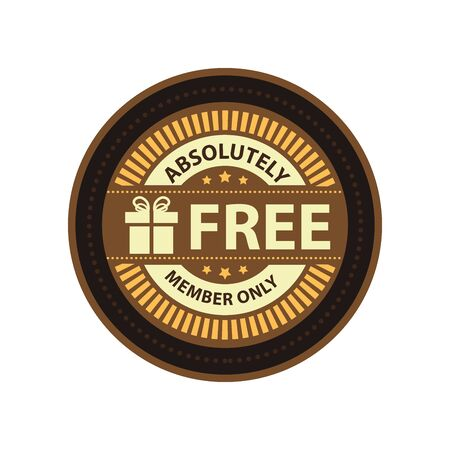 absolutely: Brown Vintage Absolutely Free Member Only Icon Badge Sticker or Label Isolated on White Background Stock Photo