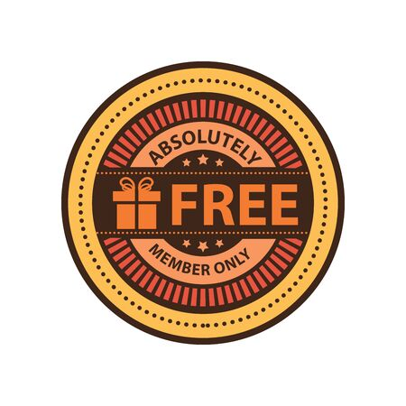 absolutely: Orange Vintage Absolutely Free Member Only Icon Badge Sticker or Label Isolated on White Background