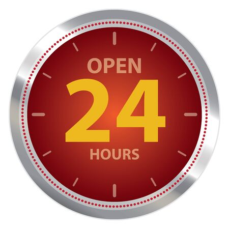 hrs: Red Metallic Open 24 Hours or Service 24 Hours Label Sign or Icon Isolated on White Background Stock Photo