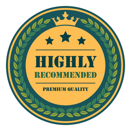 qc: Blue Vintage Highly Recommended Premium Quality Icon Badge Sticker or Label Isolated on White Background