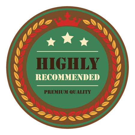 highly: Brown Vintage Highly Recommended Premium Quality Icon Badge Sticker or Label Isolated on White Background