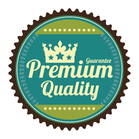 qc: Blue Guarantee Premium Quality Guarantee Badge Banner Sign Tag Label Sticker or Icon Isolated on White Background Stock Photo