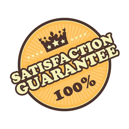 qc: Orange Satisfaction Guarantee 100 Badge Banner Sign Tag Label Sticker or Icon Isolated on White Background