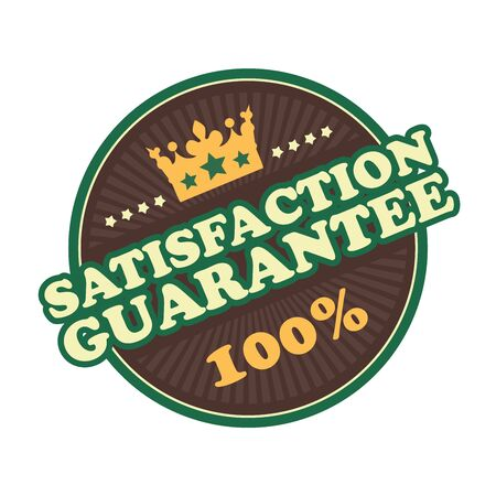 qc: Brown Satisfaction Guarantee 100 Badge Banner Sign Tag Label Sticker or Icon Isolated on White Background