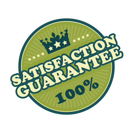 qc: Green Satisfaction Guarantee 100 Badge Banner Sign Tag Label Sticker or Icon Isolated on White Background