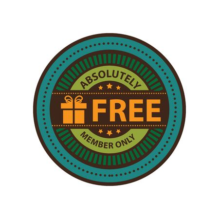 absolutely: Blue Vintage Absolutely Free Member Only Icon Badge Sticker or Label Isolated on White Background
