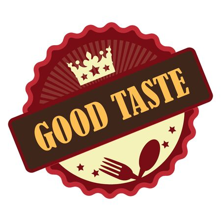 Red Vintage Good Taste Icon Badge Sticker or Label Isolated on White Background Stock Photo