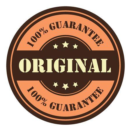 qc: Orange Circle Vintage Original 100 Guarantee Icon Badge Sticker or Label Isolated on White Background Stock Photo