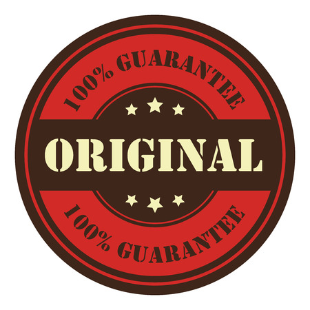 qc: Red Circle Vintage Original 100 Guarantee Icon Badge Sticker or Label Isolated on White Background