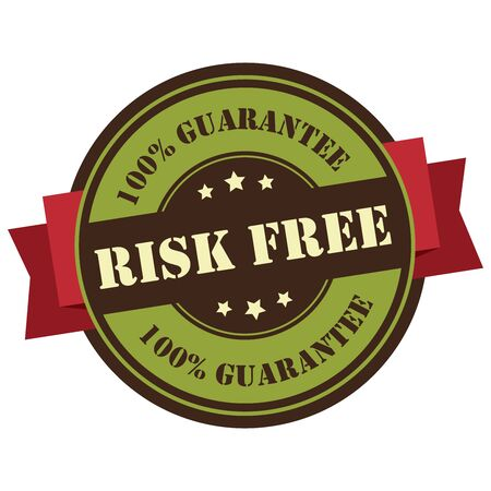 Green Vintage Risk Free 100 Guarantee Icon Badge Sticker or Label Isolated on White Background Reklamní fotografie