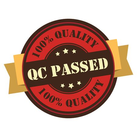 qualify: Red Vintage QC Passed 100 Guarantee Icon Badge Sticker or Label Isolated on White Background