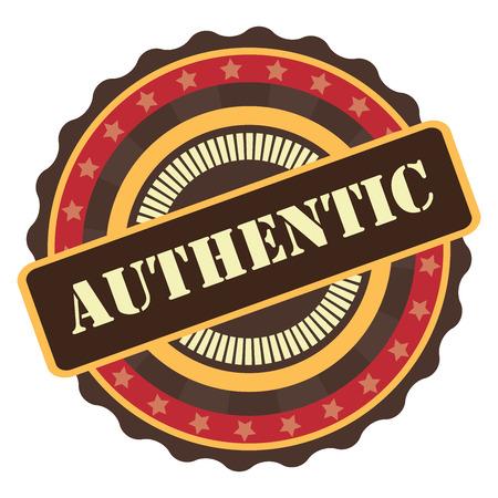 Orange Vintage Authentic Icon, Badge, Sticker or Label Isolated on White Background