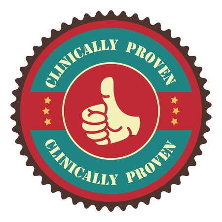 proven: Blue Vintage Clinically Proven With Thumbs Up Icon, Badge, Sticker or Label Isolated on White Background