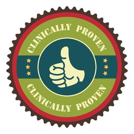 proven: Green Vintage Clinically Proven With Thumbs Up Icon, Badge, Sticker or Label Isolated on White Background