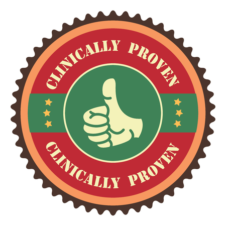 Red Vintage Clinically Proven With Thumbs Up Icon, Badge, Sticker or Label Isolated on White Background