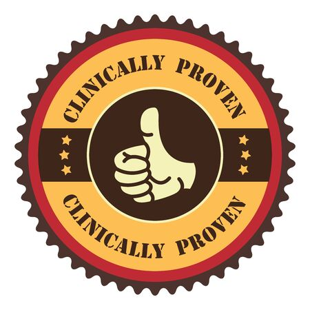 proven: Orange Vintage Clinically Proven With Thumbs Up Icon, Badge, Sticker or Label Isolated on White Background