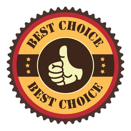 Orange Vintage Best Choice With Thumbs Up Icon, Badge, Sticker or Label Isolated on White Background Reklamní fotografie
