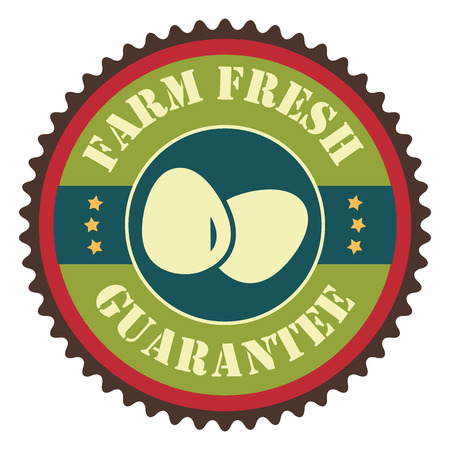 Green Vintage Farm Fresh Egg Guarantee With Egg Icon, Badge, Sticker or Label Isolated on White Background Reklamní fotografie