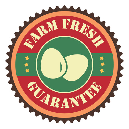 Red Vintage Farm Fresh Egg Guarantee With Egg Icon, Badge, Sticker or Label Isolated on White Background Reklamní fotografie