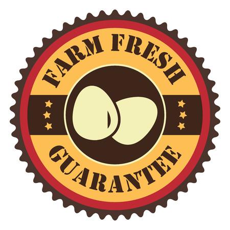 Orange Vintage Farm Fresh Egg Guarantee With Egg Icon, Badge, Sticker or Label Isolated on White Background