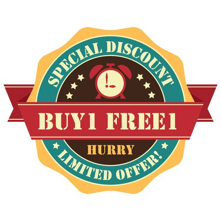Orange Vintage Buy 1 Free 1 Hurry Special Discount Limited Offer Icon, Badge, Sticker or Label Isolated on White Background
