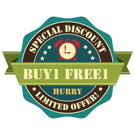 Blue Vintage Buy 1 Free 1 Hurry Special Discount Limited Offer Icon, Badge, Sticker or Label Isolated on White Background Reklamní fotografie