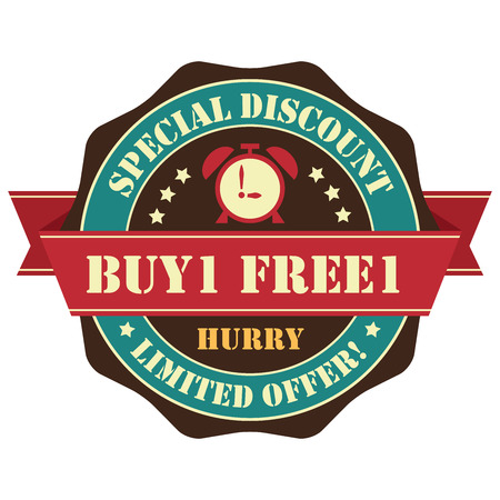 Vintage Buy 1 Free 1 Hurry Special Discount Limited Offer Icon, Badge, Sticker or Label Isolated on White Background