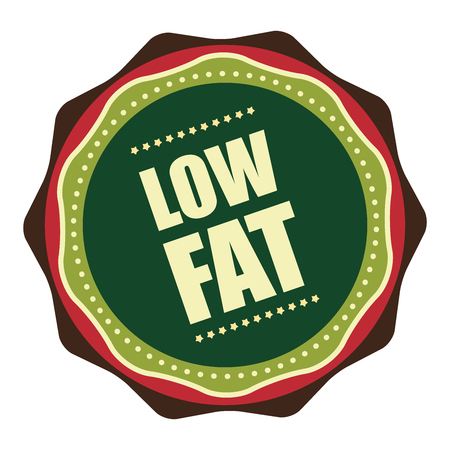 low cal: Green Vintage Low Fat Icon, Badge, Sticker or Label Isolated on White Background Stock Photo