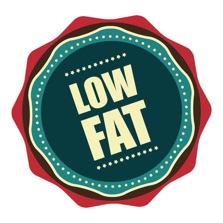low cal: Blue Vintage Low Fat Icon, Badge, Sticker or Label Isolated on White Background