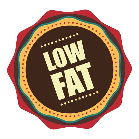 low cal: Red Vintage Low Fat Icon, Badge, Sticker or Label Isolated on White Background Stock Photo